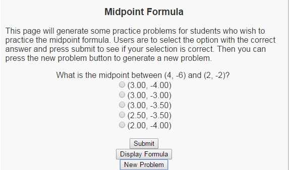 Interactive Midpoint Formula | LEARNINGlover com